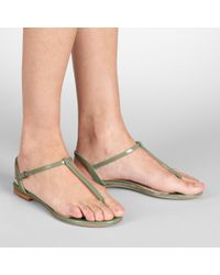 Bottega Veneta Green Poussin Vernice Sandal
