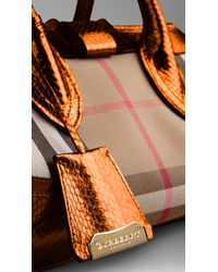 Burberry - Multicolor The Medium Blaze in Graphic Check and Metallic Python - Lyst