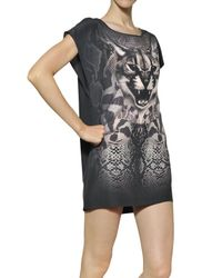 Emma Cook Gray Printed Silk Dress