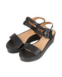 TOPSHOP Black Hanna Flatform Sandals
