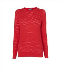 Jaeger Red Pointelle Sweater