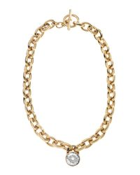 Michael Kors - Metallic Chainlink Padlock Necklace Golden - Lyst