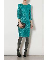 TOPSHOP Blue Sequin Midi Dress