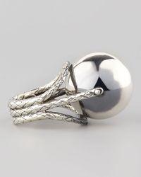 Bottega Veneta Metallic Rolling Silver Sphere Ring for men
