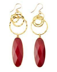 Devon Leigh - Red Ruby Quartz Chain Drop Earrings - Lyst