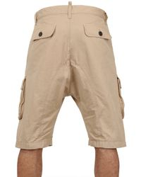 DSquared² Natural Dyed Military Cargo Cotton Canvas Shorts for men