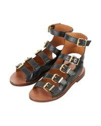 TOPSHOP Black Fable Multi Buckle Sandal