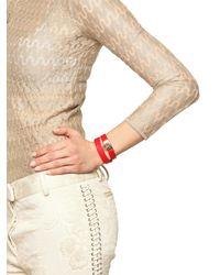 Ferragamo - Red Double Wrap Leather Bracelet - Lyst