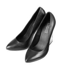 TOPSHOP Black Glass Perspex Heel Courts