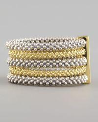 Lagos - Metallic Pave Diamond Soiree Stacked Ring - Lyst