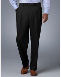 Lauren by Ralph Lauren Black Midweight Pleated Wool Trouser Pants for men