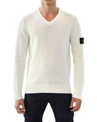 Stone Island Natural Raw Cotton Tricot V Neck Sweater for men