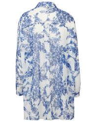 TOPSHOP | Blue Oversize Porcelain Bird Shirt | Lyst