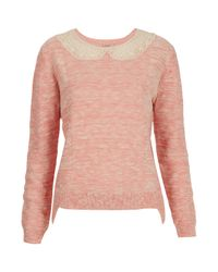TOPSHOP Pink Knitted Lace Collar Jumper