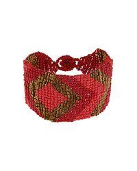 TOPSHOP | Red Seedbead Pattern Bracelet | Lyst