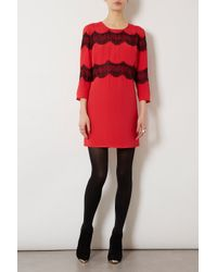 TOPSHOP | Red Lace Panel Shift Dress | Lyst