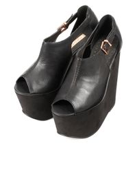 TOPSHOP Whitney Black Mega Wedges