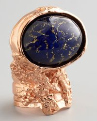 Saint Laurent - Blue Rose Golden Arty Ring - Lyst