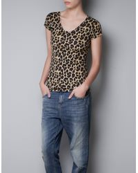 Zara | Brown V-neck T-shirt | Lyst