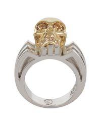Alexander McQueen - Metallic Gold Art Deco Skull Ring - Lyst
