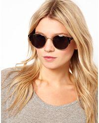 ASOS Black Metal Round Sunglasses with Corner Detail