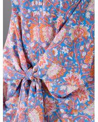 Carven Multicolor Floral Print Tie Front Dress