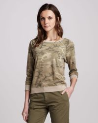 Current/Elliott Green The Letterman Camouflage Knit Top