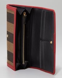 Fendi Multicolor Pequin Flap Organizer Continental Wallet