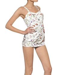 Olympia Le-Tan White Printed Stretch Cotton Poplin Swimsuit