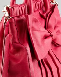 Red Valentino   Red Calfskin Bow Satchel Bag   Lyst