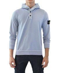 Stone Island Blue Super Light Dyed Fleece Sweatshirt for men