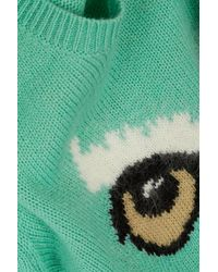 TOPSHOP Green Owl Face Jumper By Emma Cook For Topshop