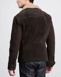 Ugg Brown Belfast Suede Bomber Jacket for men