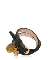 Alexander McQueen Black Skull Pendant Leather Bracelet for men