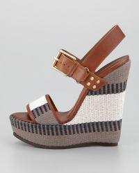 Belstaff Brown Striped Canvas Wedge Sandal