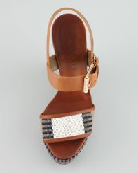 Belstaff Brown Striped Canvas Wedge Sandal