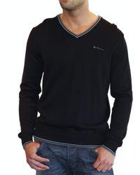 Ben Sherman Black V-neck Sweater with Tipping for men