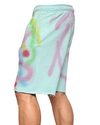 Dead Meat Blue Graffiti Printed Raw Cut Fleece Shorts for men
