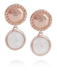 Monica Vinader | Metallic Mini Luna Rose Goldvermeil Moonstone Earrings | Lyst