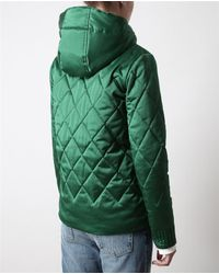 Opening Ceremony Green Quilted Satin Hooded Jacket
