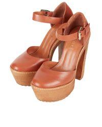 Retrosuperfuture Orange Super Ankle Strap Platforms
