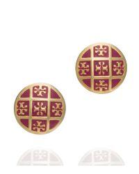 Tory Burch - Red Enamel T Pattern Stud Earrings - Lyst