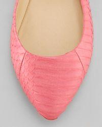 B Brian Atwood Pink Amata Doublestrap Ballerina Flats