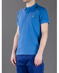 Etro - Blue Brand Print Polo Shirt for Men - Lyst