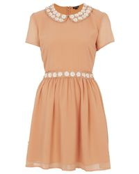TOPSHOP Natural Peter-pan Flower Flippy Dress