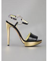 Pollini | Black Metallic Heeled Sandal | Lyst