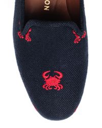 Stubbs & Wootton Blue Crab Embroidered Wool Dress Slippers