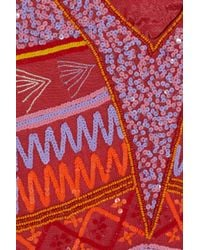 Antik Batik Jacara Embellished Georgette Mini Dress In