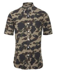 A Bathing Ape Camouflage Short Sleeve Shirt Green for men