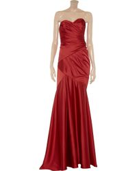 Notte by Marchesa Red Strapless Satin Gown
